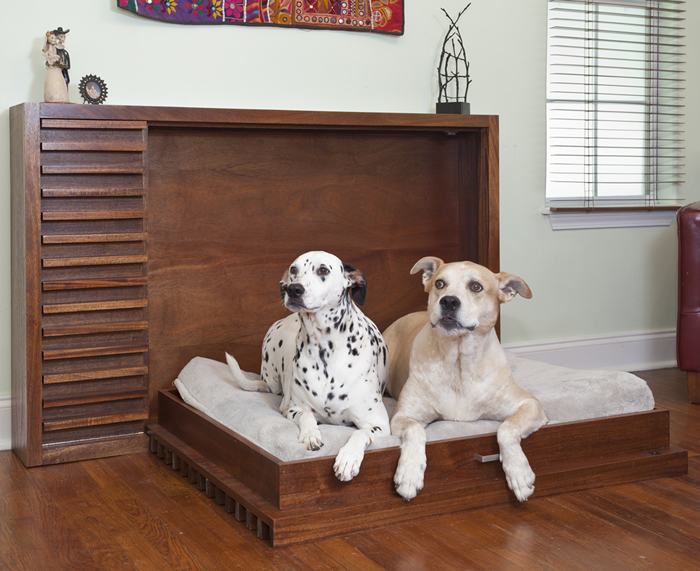 When the pups are done snoozing, simply fold this murphy bed back into the wall. By Murphy's Paw Designs.
